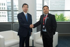 Hon'ble Lyonpo with the ADB President Mr.Takehiko Nakao at the Annual Meeting