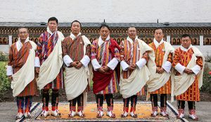 Dasho Nim Dorji (second from the right) with other Secretaries appointed by His Majesty the King.